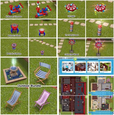 Fireworks Pack, Outdoor Bundle, and Vampire Den and Sharehouse (pics of houses from Bouckie)